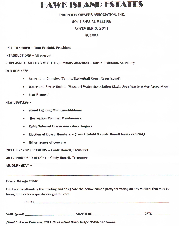 Format Of Agenda